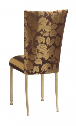 Gold and Brown Damask Chair Cover with Gold and Brown Stripe Cushion with Gold Legs (1)