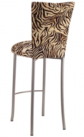 Zebra Stretch Knit Barstool Cover and Cushion Barstool on Silver Legs (1)