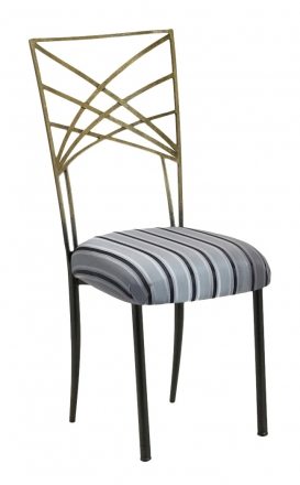 Two Tone Gold Fanfare with Charcoal Stripe Cushion (2)