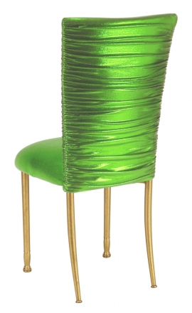 Chloe Metallic Lime Stretch Knit Chair Cover and Cushion on Gold legs (1)