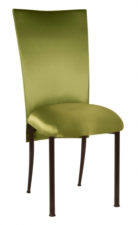Lime Satin 3/4 Chair Cover and Cushion on Brown Legs (2)