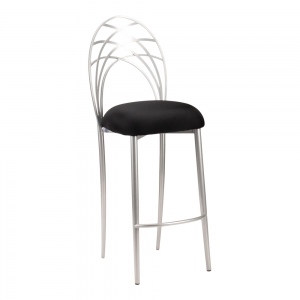 Silver Piazza Barstool with Black Stretch Knit Cushion (2)