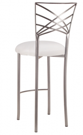 Silver Fanfare Barstool with White Stretch Knit Cushion (1)