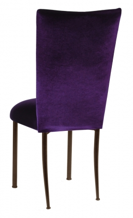 Deep Purple Velvet Chair Cover and Cushion on Brown Legs (1)