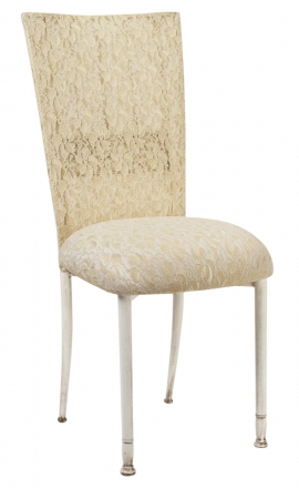 Ivory Bella Fleur with Ivory Lace Chair Cover and Ivory Lace over Ivory Stretch Knit Cushion (2)