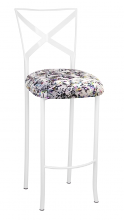 Simply X White Barstool with White Paint Splatter Cushion (2)