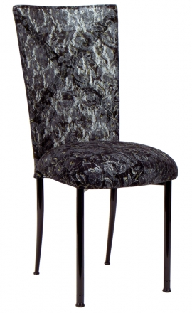 Blak. with Black Lace Chair Cover and Black Lace over Black Stretch Knit Cushion (2)