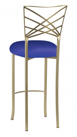 Gold Fanfare Barstool with Royal Blue Knit Cushion (1)