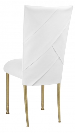 White Tiered Leatherette Chair Cover and Cushion on Gold Legs (1)