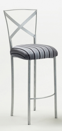 Simply X Barstool with Charcoal Stripe Cushion (2)