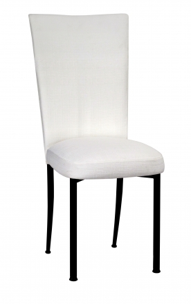 White Linette Chair Cover and Cushion on Black Legs (2)