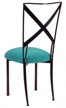 Blak. with Turquoise Suede Cushion (1)