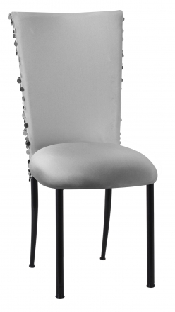 Silver Confetti Stretch Knit Chair Cover and Silver Stretch Knit Cushion on Black Legs (2)