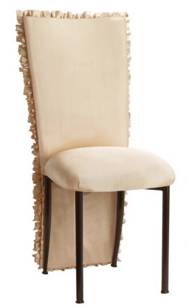 Champagne Ruffle Chair Cover with Champagne Bengaline Cushion on Brown Legs (2)