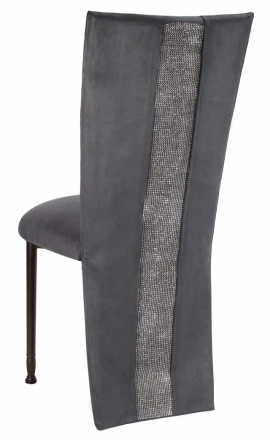Charcoal Suede Jacket with Rhinestone Center and Cushion on Mahogany Legs (1)