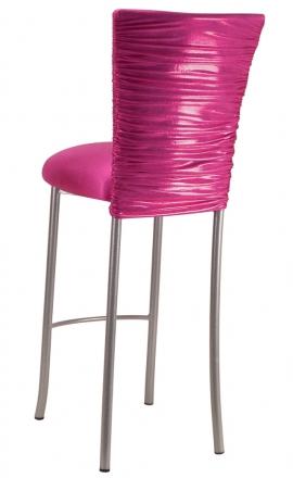 Chloe Metallic Fuchsia Stretch Knit Barstool Cover and Cushion on Silver Legs (1)