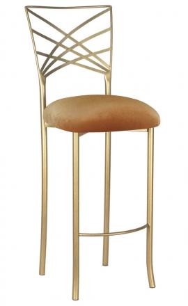 Gold Fanfare Barstool with Gold Velvet Cushion (2)