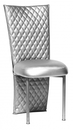 Silver Quilted Leatherette Jacket with Silver Stretch Vinyl Boxed Cushion on Silver Legs (2)