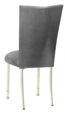 Gunmetal Stretch Knit Chair Cover with Cushion on Ivory Legs (1)