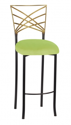 Two Tone Fanfare Barstool with Lime Green Velvet Cushion (2)