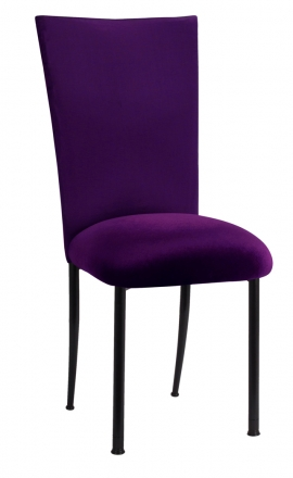 Purple Diamond Tufted Taffeta Chair Cover with Deep Purple Velvet Cushion on Black Legs (2)