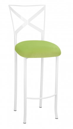 Simply X White Barstool with Lime Green Velvet Cushion (2)