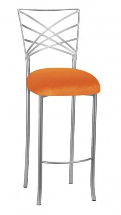 Silver Fanfare Barstool with Orange Velvet Cushion (2)