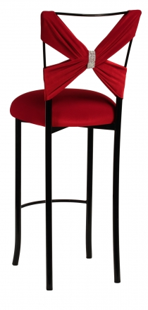 Blak. Barstool with Red Velvet Criss Cross and Rhinestone Accent (1)