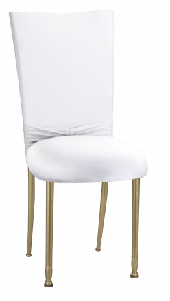 White Cowl with Jeweled Band and White Stretch Knit Cushion on Gold Legs (2)