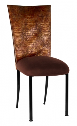 Bronze Croc Chair Cover with Chocolate Suede Cushion on Black Legs (2)