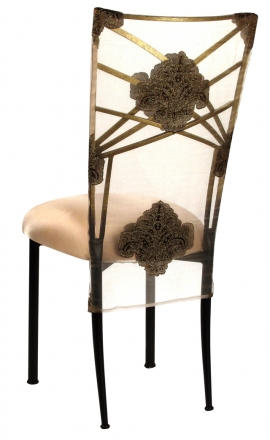 Two Tone Gold Fanfare with Organza Medallion 3/4 Chair Cover and Toffee Stretch Knit Cushion (1)