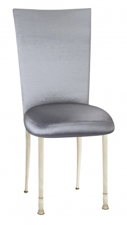 Charcoal Taffeta Chair Cover with Boxed Cushion on Ivory Legs (2)