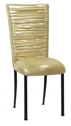 Chloe Metallic Gold Stretch Knit Chair Cover and Cushion on Black Legs (2)