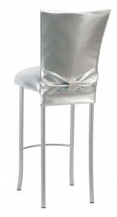 Silver Patent Barstool 3/4 Chair Cover with Rhinestone Accent Belt and Metallic Silver Stretch Knit Cushion on Silver Legs (1)