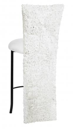 White Wedding Lace Barstool Jacket with White Knit Cushion on Black Legs (1)