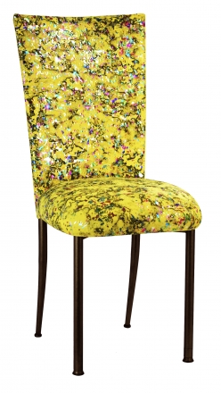 Yellow Paint Splatter Chair Cover and Cushion on Brown Legs (2)