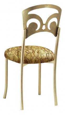 Gold Fleur de Lis with Gold Lace over Gold Knit Cushion (1)
