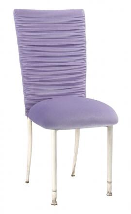 Chloe Lavender Velvet Chair Cover and Cushion on Ivory Legs (2)