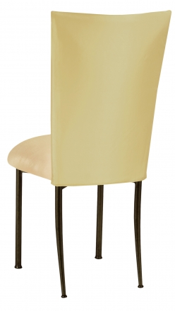 Light Pear Dupioni Chair Cover with Champagne Metallic Knit Cushion on Brown Legs (1)