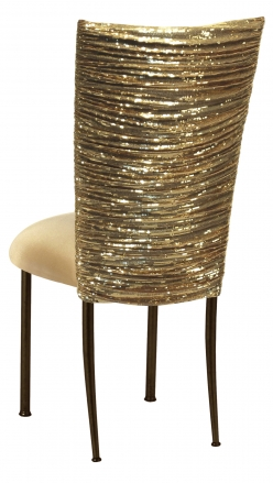 Gold Bedazzled Chair Cover with Gold Stretch Knit Cushion on Brown Legs (1)