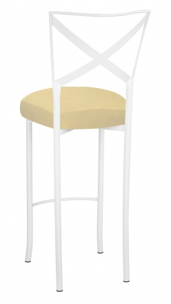 Simply X White Barstool with Buttercup Suede Boxed Cushion (1)