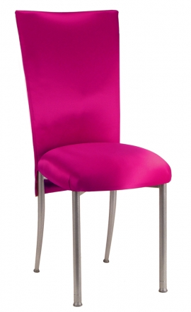 Fuchsia Satin Chair Cover with Bow Belt and Cushion on Silver Legs (2)
