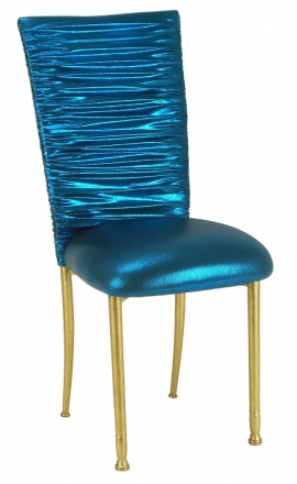 Chloe Metallic Teal Stretch Knit Chair Cover and Cushion on Gold Legs (2)