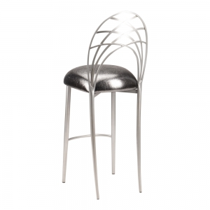 Silver Piazza Barstool with Gunmetal Stretch Knit Cushion (1)
