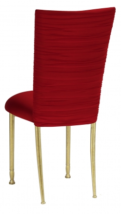 Chloe Red Stretch Knit Chair Cover and Cushion on Gold Legs (1)
