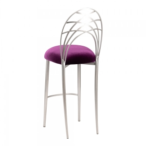 Silver Piazza Barstool with Eggplant Velvet Cushion (1)