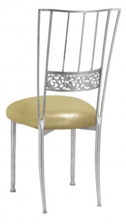 Silver Bella Fleur with Metallic Gold Stretch Knit Cushion (1)