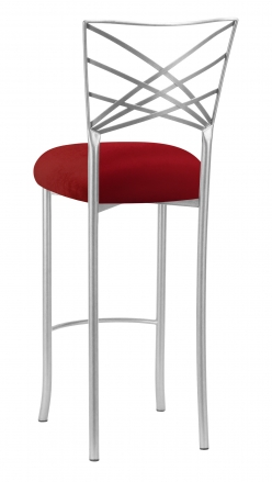 Silver Fanfare Barstool with Red Velvet Cushion (1)