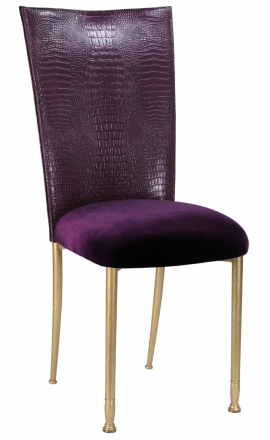 Purple Croc Chair Cover with Eggplant Velvet Cushion on Gold Legs (2)