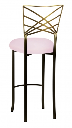 Two Tone Fanfare Barstool with Soft Pink Knit Cushion (1)